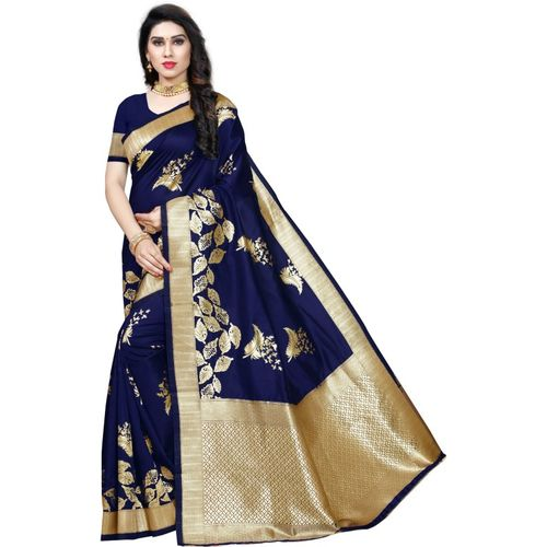 Momina Fashion Woven Banarasi Tussar Silk, Cotton Blend Saree(Blue)