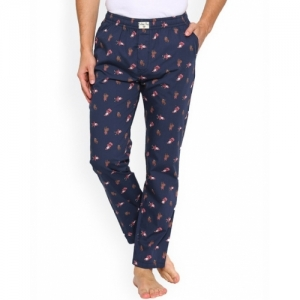 URBAN DOG Navy Blue Cotton Printed Mid Rise Pyjamas