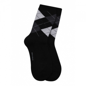 Bonjour Black Cotton Checked Socks