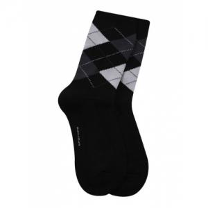Bonjour Black Cotton Checked Socks