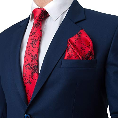 To The Nines Red Silk Cotton Printed Tie, Pocket Square, Bow Tie and Lapel Pins