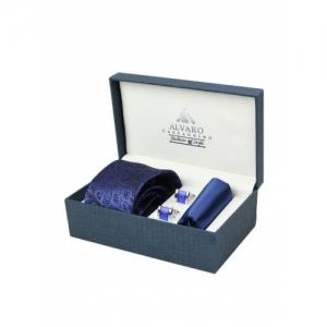 Alvaro Castagnino Blue Microfiber Paisley Textured Tie Set