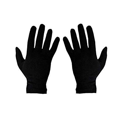 Qraftink Black Cotton Solid Summer Gloves