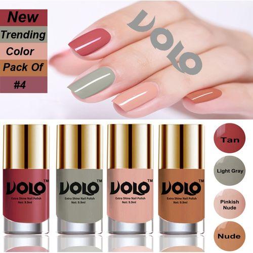 VOLO Grand Shine Everlasting High Definition Nail Polish Combo Set Tan, Light Gray, Pinkish skin , skin (Pack of 4)