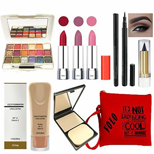 volo Stylish Beauty combo makeup set (3 Pcs Lipsticks,1 Eye Shadow, 1 Foundation,1 Eyeliner, 1 Compact, 1 Kajal, 1 Pouch) Set of 9 Pcs C6