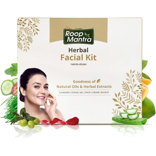 Roop Mantra Herbal Facial Kit for Glowing Skin (Cleansing Milk, Face Scrub, Massage Gel, Face Pack, Nourishing Cream, Face Bleach)(6 x 43.33 g)