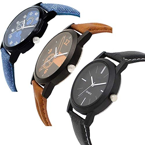 LEVERET Multicolour Leather Analog Watch Combo Pack of 3 Watches