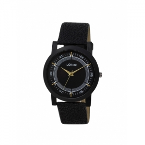 Lorem Black Leather Round Analog Watch