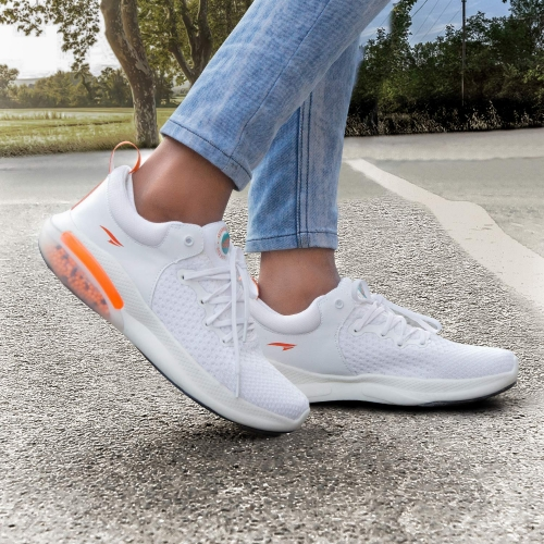 ASIAN White Mesh Lace Up Low Ankle Running Shoes