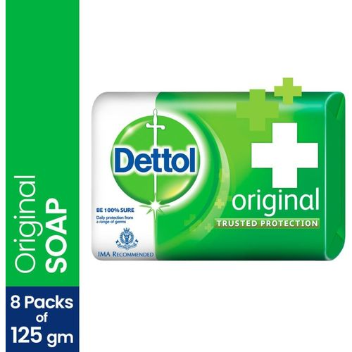 Dettol Bathing Bar Soap, Original(8 x 125 g)