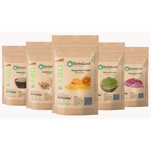 HerbsLand 100% Bio Multani Mitti Sandalwood (Chandan) Orange Peel Neem Leaf Rose Petals Powder for Face and Skin (50gm each)(250 g)
