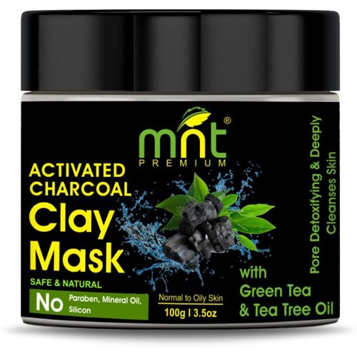 MNT Activated Charcoal Clay Mask with Green Tea & Tea Tree Oil (100g) for All Skin Types |Pore Detoxifying & Deeply Cleanses Skin(100 g)