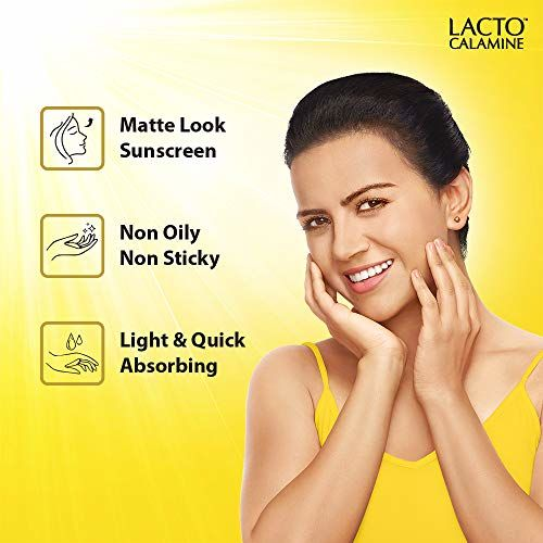 Lacto Calamine Sunshield Matte Look Sunscreen SPF50 PA+++ for Oily or Acne prone skin, Paraben & Sulphate free, 50g
