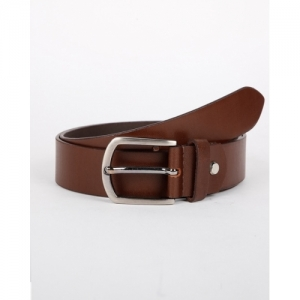 NETWORK Brown Leather Solid Classic Belt with Buckle Closure