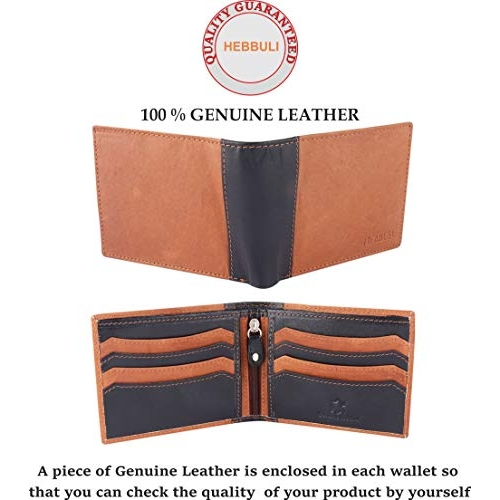 HEBBULI Brown Genuine Leather Solid  Wallets