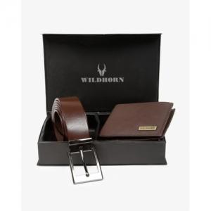 WILDHORN Brown Genuine Leather Bi-Fold Wallet & Belt Set