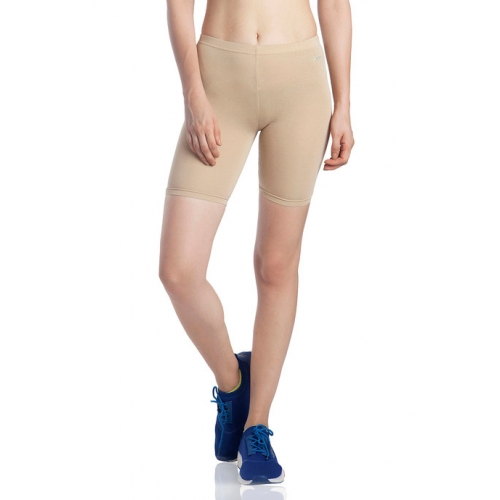 Lavos Bamboo Cotton High Rise Full Coverage Layering Shorts - Skin