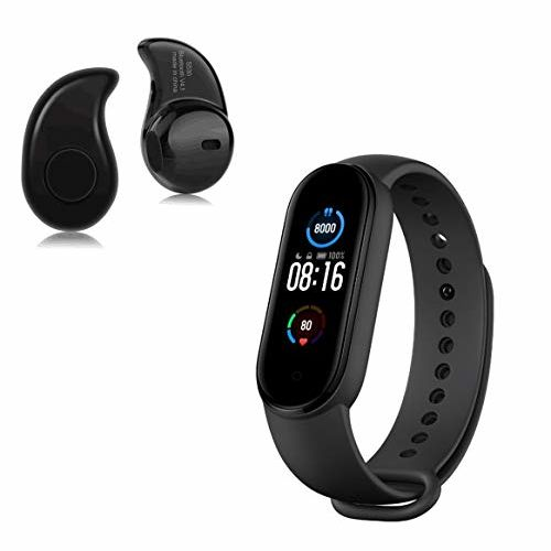 TechKing Smart Band 5 Fitness Band Full-Touch Screen Wrist Watch Band and Mini S530, Single Ear Wireless Bluetooth Headset Earphone with Mic (Diwali Offer)