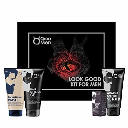 Qraa Men Look Good Kit, 330 g (Pack of Face Wash, Styling Gel, Scrub & Beard Oil), Premium gift box for Men