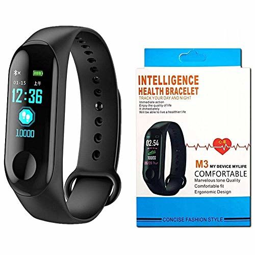 Fashion Lobby Smart Fitness Band Activity Tracker with Heart Rate Sensor for Androids and iOS Phone/Tablet (Black)