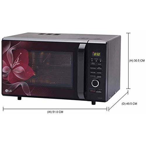 LG 28 L Charcoal Convection Microwave Oven (MJ2886BWUM, Floral, Diet Fry, With Starter Kit)