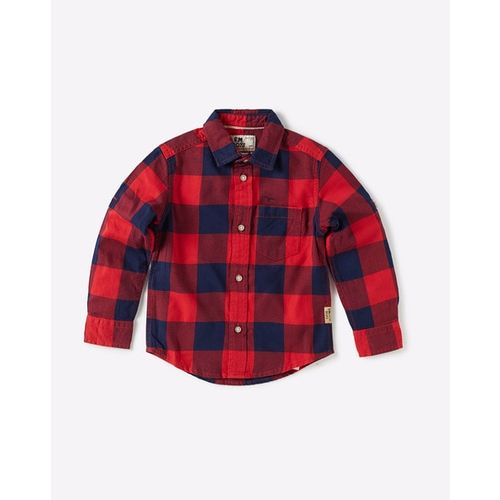 FLYING MACHINE KIDS Checked Shirt with Patch Pocket