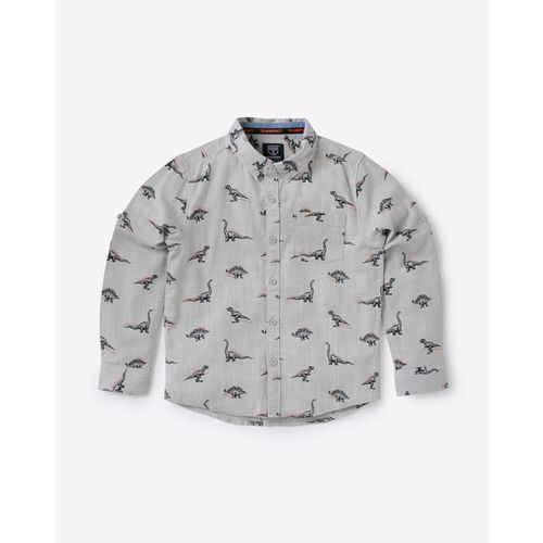 KB TEAM SPIRIT Dinosaur Print Shirt with Button-Down Collar
