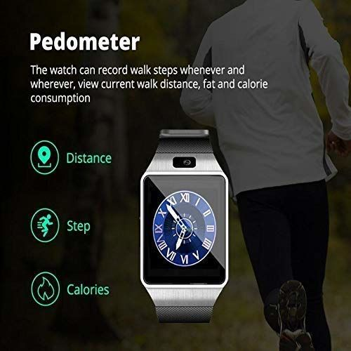 Faawn Smart Watch with Bluetooth Calling, SIM Card Slot Camera Pedometer Touch Screen Music Player Smart Watches for Mens Boys and Girls ( smartwatch ) - Silver