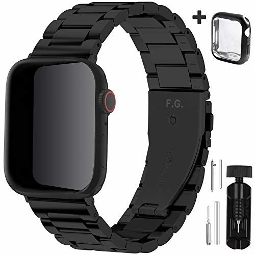 Fullmosa Compatible Apple Watch Band 42mm 44mm 38mm 40mm, Stainless Steel Metal for Apple Watch Series SE 6 5 4 3 2 1 Bands, 42mm 44mm Black(Watch not Included)