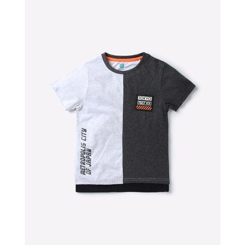 KB TEAM SPIRIT Colourblock Round-Neck T-shirt with Typographic Print