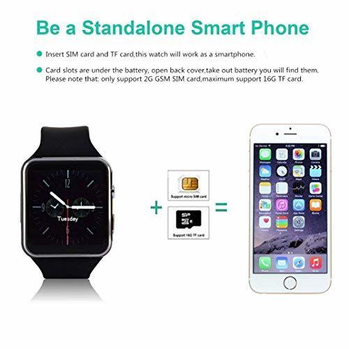 Ainsley X7U Bluetooth Smart Watch, Touchscreen Smart Wrist Watch Smartwatch Phone Fitness Tracker with SIM SD Card Camera Pedometer Compatible iOS iPhone
