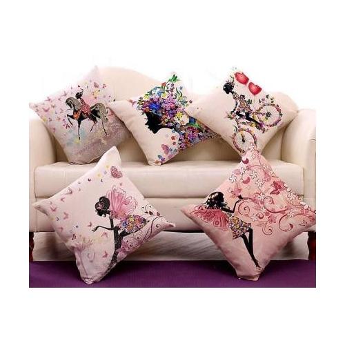 Stepupp Pink Jute Grow Printed Cushions Cover(Pack of 5, 40 cm*40 cm)