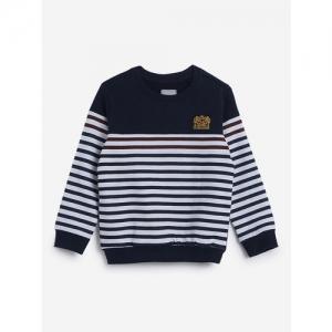 HOP Kids by Westside Navy Striped Pure Cotton Sweatshirt