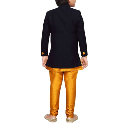 AJ Dezines gold silk blend sherwani set