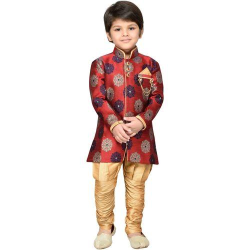 AJ Dezines Boys Festive & Party Sherwani and Churidar Set(Red Pack of 1)