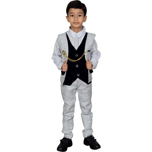 Star kids Boys Festive & Party Blazer, Shirt and Trouser Set(Grey Pack of 1)