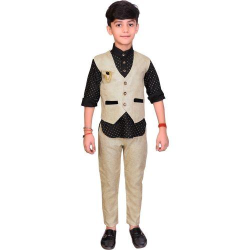 Ahhaaaa Boys Casual Shirt, Waistcoat and Pant Set(Beige Pack of 1)