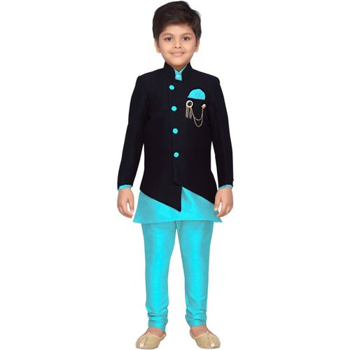 AJ Dezines Indi Boys Festive & Party Sherwani and Churidar Set(Light Blue Pack of 1)