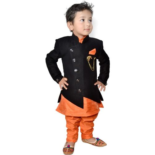 Lakshu Fashions Boys Festive & Party Kurta, Waistcoat and Pyjama Set(Black Pack of 1)