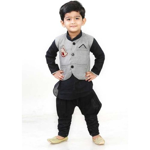 Digimart Boys Festive & Party Kurta, Waistcoat and Breeches Set(Black Pack of 1)
