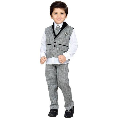AJ Dezines Boys Festive & Party Shirt, Waistcoat and Pant Set(Grey Pack of 1)