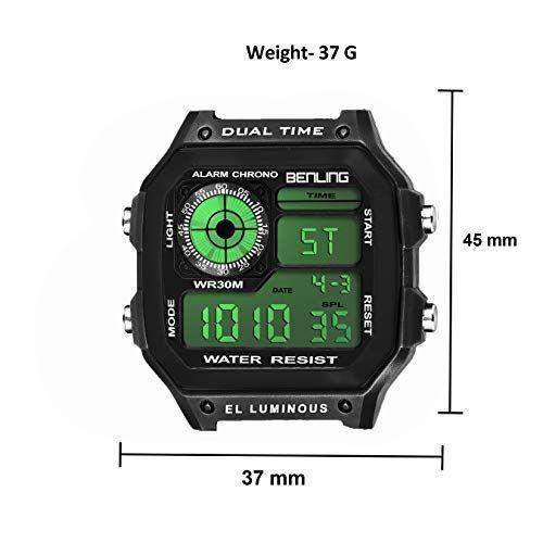 Benling LCD Digital Men's Watch (Black Dial Green Colored Strap) (Black)
