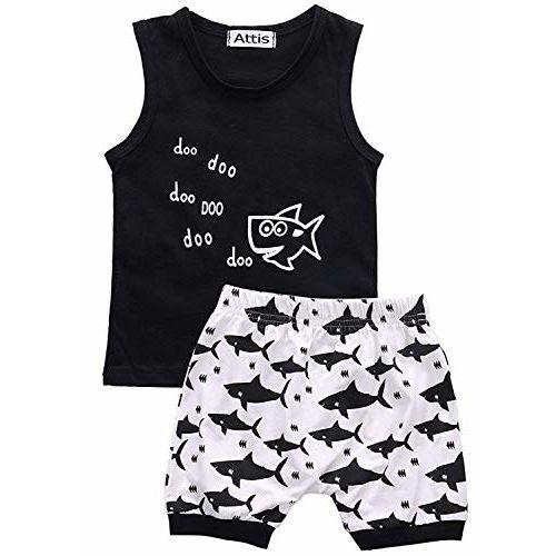Attis Boys and Girls Clothes Shark and Doo Doo Print Summer Cotton Stylish Sleeveless Outfits Set Tshirt & Pant Kids Clothing Set