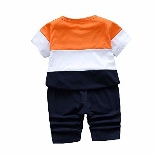 Hopscotch Boys Cotton and Spandex Text Print Round Neck T-Shirt and Pant Set in Orange Color