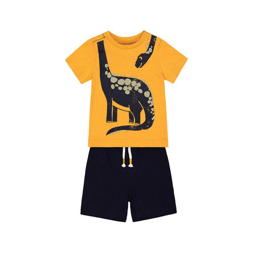 Mothercare Kids Orange & Navy Printed T-Shirt With Shorts