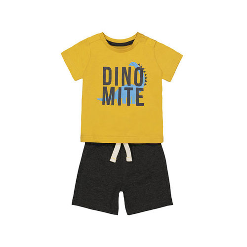 Mothercare Kids Yellow & Black Printed T-Shirt With Shorts