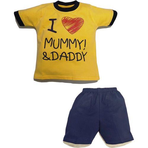 JUSFAB Baby Boys & Baby Girls Casual T-shirt Pant(Yellow)