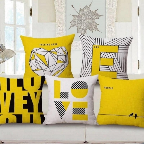 Shakrin Yellow Polyester Printed Cushion Covers Set of 5, (Size: -16 inch x 16 inch)