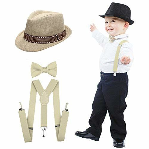 Clothera Suspender and Bow Tie Set with Matched Hat for Kids 2yrs to 5yrs- Black