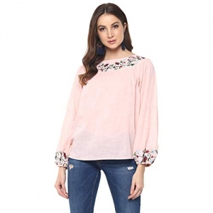 Mayra Pink Cotton Long Sleeve Embroidered Top